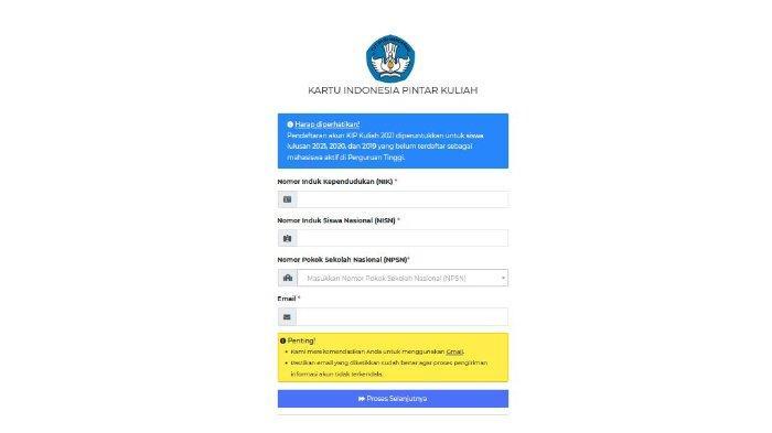 Halaman web kip-kuliah.kemdikbud.go.id untuk regitrasi akun KIP Kuliah.