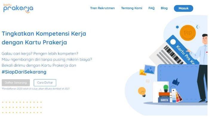 Halaman website Kartu Prakerja.