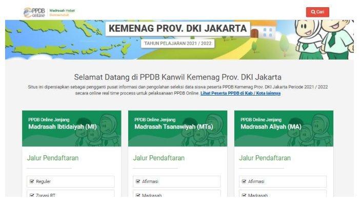 Halaman Website ppdb-madrasahdki.com.