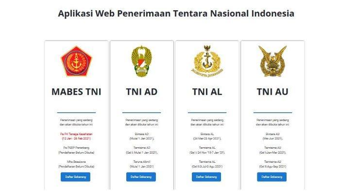 Halaman website rekrutmen-tni.mil.id