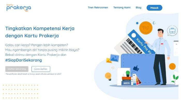 Halaman website www.prakerja.go.id.