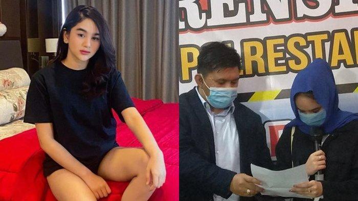 Unggahan Hana Hanifah di IG (kiri) dan Hana Hanifah saat konferensi pers di Mapolrestabes Medan, Selasa (14/7/2020) (kanan)