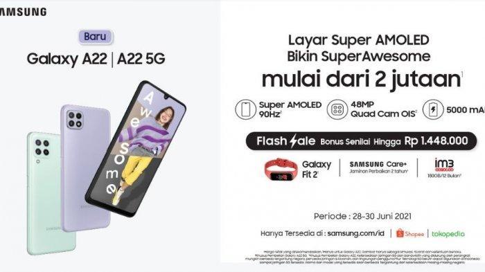 Harga dan spesifikasi Samsung Galaxy A22.