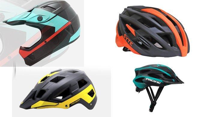 Urutan dari kiri atas Helm Sepeda Polygon Tharsus, Helm Sepeda Polygon Ramp, Pacific Helmet Road ST-F101, dan Pacific Helmet SP J110.