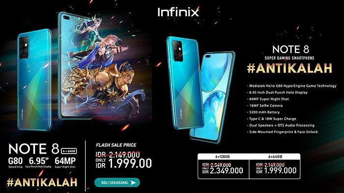 Harga HP Infinix Note 8 di Indonesia Mulai Rp 1,9 Jutaan, Smartphone Gaming dengan Baterai Besar