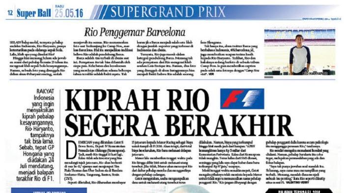 Langkah Rio Haryanto Bakal Terhenti di GP Hongaria
