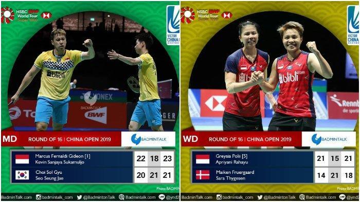 Hasil Akhir Babak Kedua China Open 2019: 6 Wakil Indonesia Lolos ke Perempat Final