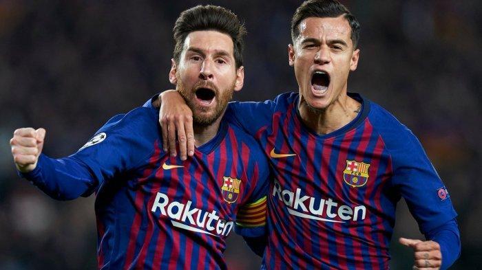 Selebrasi Lionel Messi (kiri) dan Coutinho seusai membobol gawang Manchester United di perempat final Liga Champions leg 2 yang telah berlangsung pada Rabu (17/4/2019) dini hari.