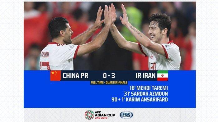 Hasil China Vs Iran Babak Perempat Final Piala Asia AFC 2019 Berakhir dengan Skor 0-3