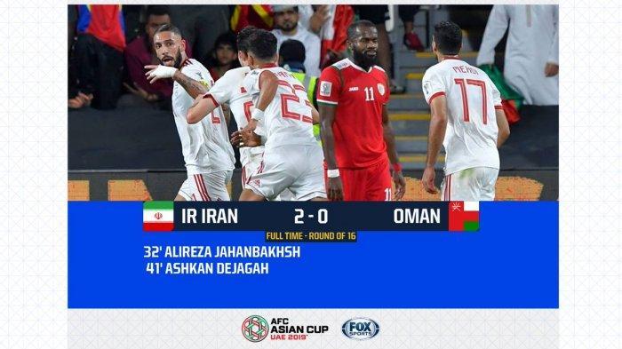 Hasil Akhir Iran Vs Oman Babak 16 Besar Piala AFC 2019