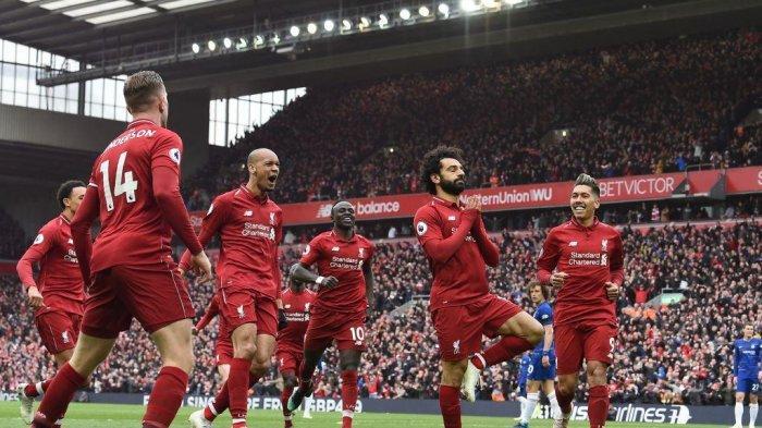 Ilustrasi - Selebrasi Mohamed Salah dkk, usai gol kedua Liverpool atas Chelsea di lanjutan Liga Inggris pekan 34, Senin (15/4/2019) dini hari.
