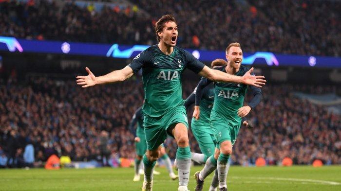 Selebrasi Fernando Llorento usai encetak gol ketiga Tottenham ke gawang Man City di perempat final Liga Champions leg 2, Kamis (18/4/2019) dini hari.