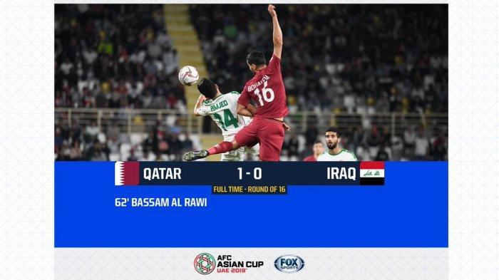 Hasil Akhir Qatar Vs Irak Babak 16 Besar Piala Asia AFC 2019, Qatar Tim Terakhir ke Perempat Final