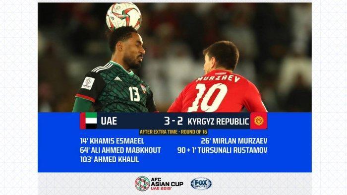 Hasil Akhir UAE Vs Kyrgyzstan Piala Asia AFC 2019, Tim Tuan Rumah Melaju ke Babak Perempat Final