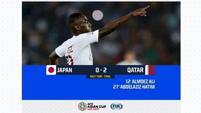 Hasil Babak Pertama Jepang Vs Qatar Final Piala Asia AFC 2019, Almoez Ali Cetak Gol Salto
