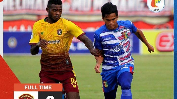 Hasil pertandingan pekan ketiga Grup D Liga 2 2021 antara Persewar vs Mitra Kukar yang berakhir dengan skor 2-0.