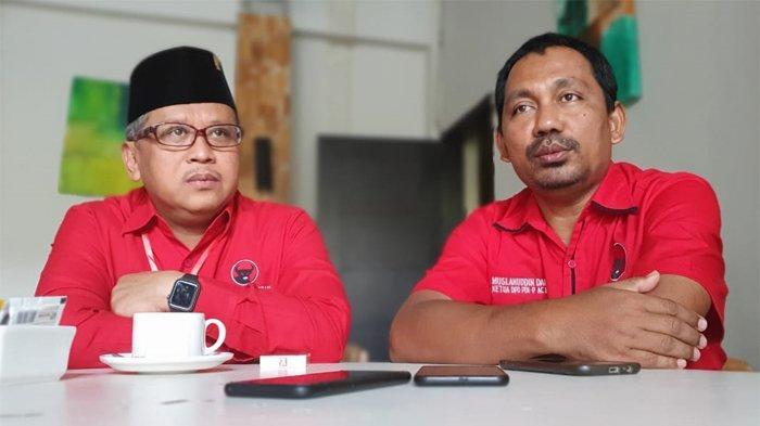 Sekretaris Jenderal Partai Demokrasi Indonesia Perjuangan (PDIP) Hasto Kristiyanto dan Ketua DPD PDIP Aceh Muslahuddin Daud di Aceh, Minggu (8/9/2019).