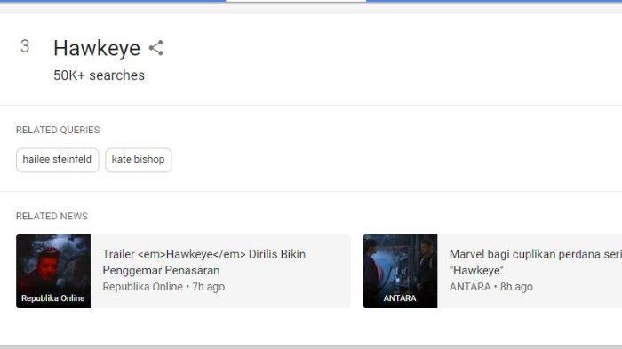Hawkeye masuk di urutan nomor 3 di Google Trends Indonesia.