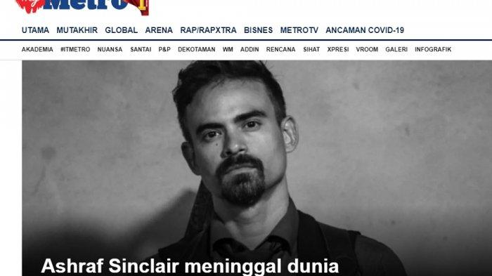 Headline harian Metro Malaysia mengabarkan suami BLC, Ashraf Sinclair meninggal dunia