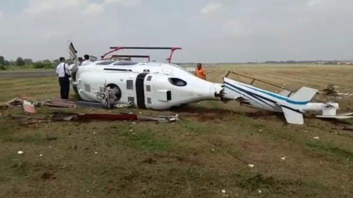 Helikopter tipe Bell-429 PK-CAW terguling di ujung landasan Bandara Budiarto, Curug, Tangerang, Senin (13/9/2021) sekira pukul 10.25 WIB.
