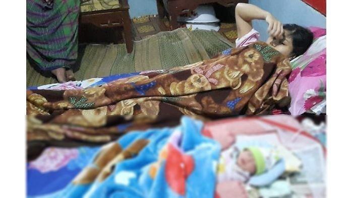 Heni melahirkan bayi laki-laki tanpa merasakan kehamilan, tengah terbaring di rumahnya, Senin (20/7/2020).