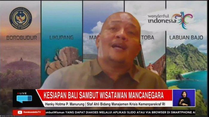 Staf Ahli Bidang Manajemen Krisis Kemenparekraf Henky Hotma P Manurung dalam webinar