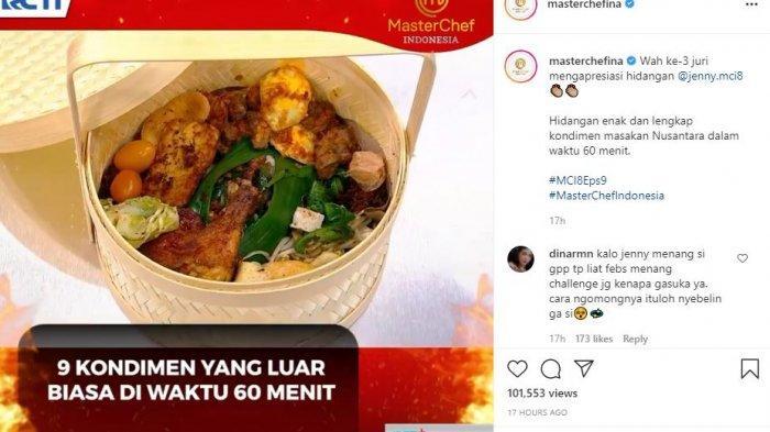Hidangan Jenny mendapat pujian dari ketiga juri MasterChef Indonesia Season 8