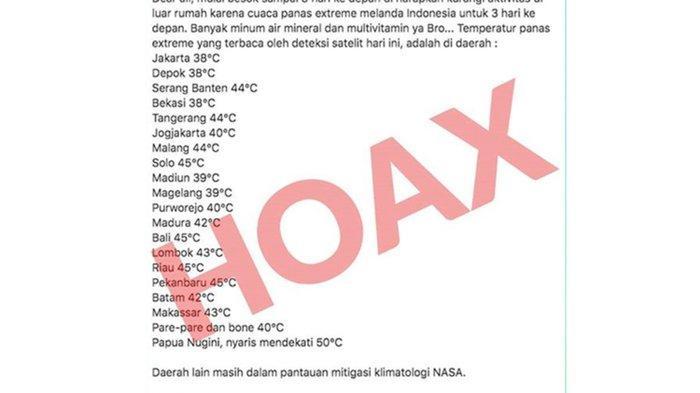 Tangkapan layar hoaks suhu ekstrem di Indonesia