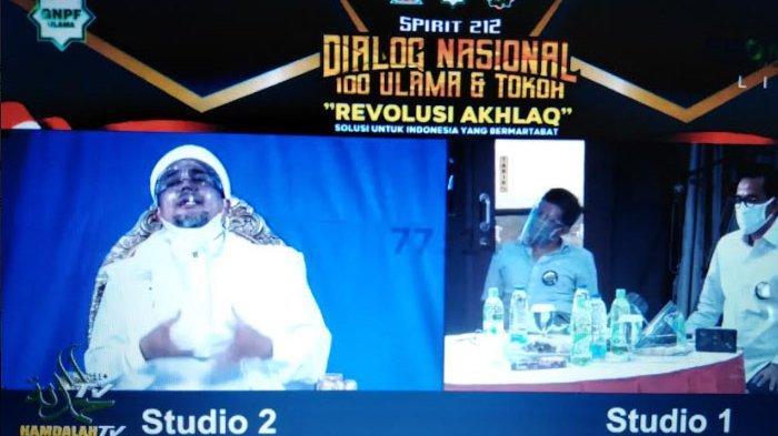 Imam Besar FPi Rizieq Shihab saat acara Reuni 212 bertema Dialog Nasional 100 Ulama dan Tokoh secara virtual, Jakarta, Rabu (2/12/2020).