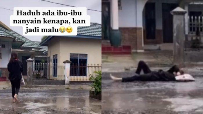 VIRAL Video TikTok Gadis Tiduran di Jalan Saat Hujan Turun, Ternyata Ini Alasan dan Ceritanya