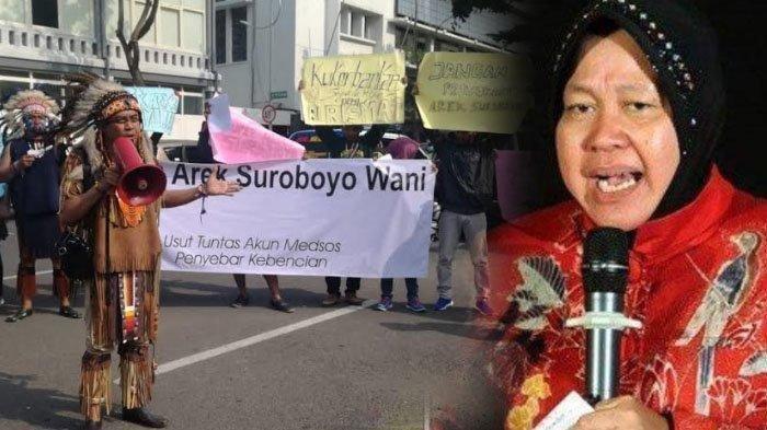 Hujatan kepada Wali Kota Surabaya Tri Rismaharini membuat arek-arek Surabaya tak terima. Mereka menuntut akun FB penghujat diusut.