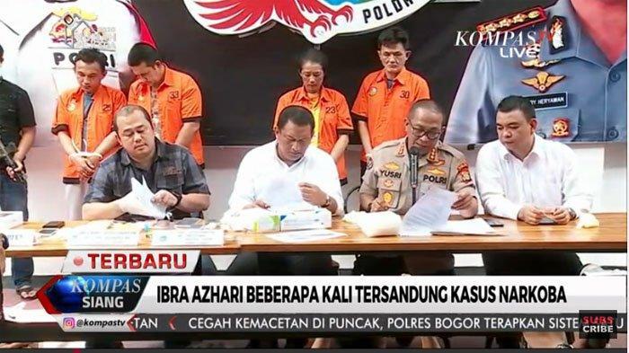 Ibra Narkoba dihadirkan saat rilis kasus narkoba di Polda Metro Jaya, Senin (23/12/2019)  siang.