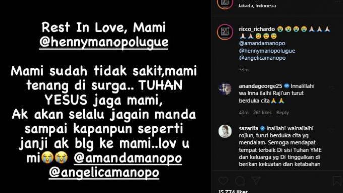 Ibunda Amanda Manopo, Henny Manopo dikabarkan meninggal dunia