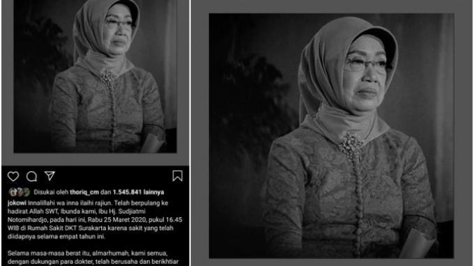 Ibunda Jokowi Wafat, Sejumlah Ucapan Duka Banjiri Instagram Sang Presiden