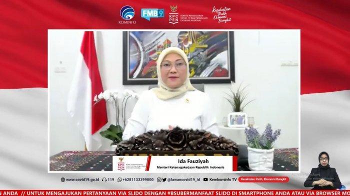 Menteri Ketenagakerjaan, Ida Fauziyah saat memberikan laporannya terkait realisasi penyaluran BSU termin 1 dan 2