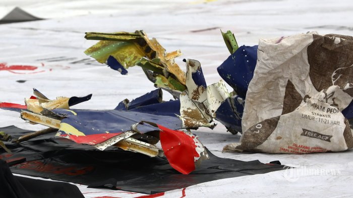 Bagian pesawat Sriwijaya Air SJ182 rute Jakarta - Pontianak yang jatuh di perairan Pulau Seribu di Dermaga JICT, Tanjung Priok, Jakarta Utara, Minggu (10/1/2021). Temuan bagian pesawat selanjutnya akan diperiksa oleh KNKT sedangkan potongan tubuh korban diserahkan kepada DVI Polri untuk identifikasi lebih lanjut. TRIBUNNEWS/IRWAN RISMAWAN