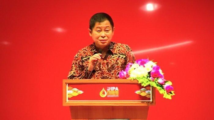 Menteri Energi dan Sumber Daya Mineral (ESDM) Ignasius Jonan membuka pameran konvensi Indonesia Petrolium Association (IPA) ke-43 di Jakarta Convention Center (JCC), Senayan, Jakarta, hari ini, Rabu (4/9/2019).