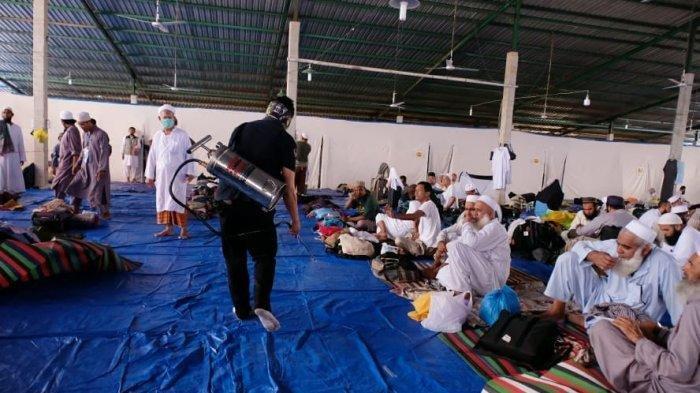 Suasana di tempat pelaksanaan Ijtima Asia 2020, di Pakkatto, Kabupaten Gowa, Sulawesi Selatan, Rabu (18/3/2020).