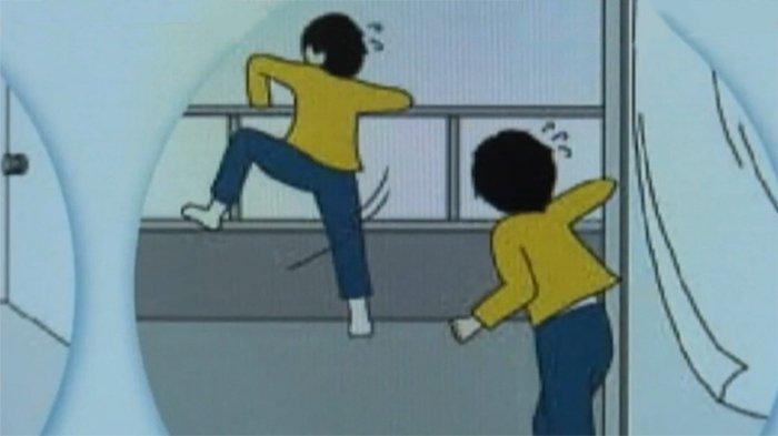 Ilustrasi anak lelaki hendak melompat dari ketinggian di mansion.