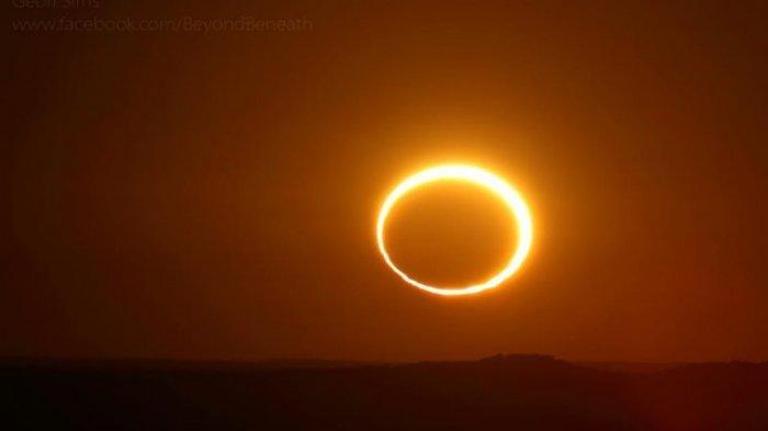 ILUSTRASI Gerhana Matahari Cincin - Foto Gerhana Matahari Cincin yang difoto Geoff Sims pada 10 Mei 2013.