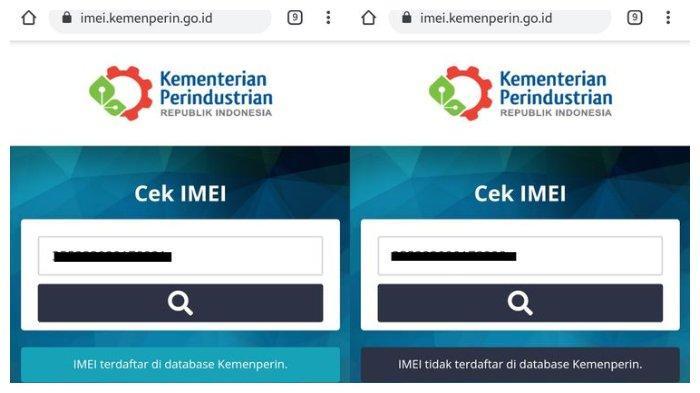 Ilustrasi hasil pencarian IMEI di situs Kemenperin.