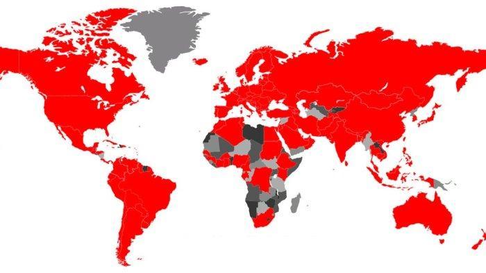Ilustrasi peta penyebaran Covid-19 - Simak update corona di dunia per 16 April 2020, angka kematian di Indonesia tertinggi di wilayah Asia Tenggara.