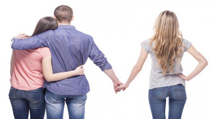 Ilustrasi selingkuh, berjalan bersama pacar, tangan lain menggandeng wanita lain.