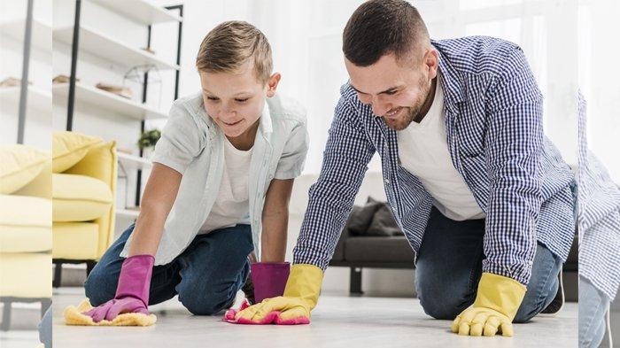Ilustrasi suami dan anak melakukan pekerjaan rumah