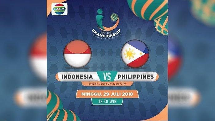 Live Streaming Indosiar Indonesia vs Filipina Minggu 29 Juli 18.30 WIB  - Garuda Punya Modal Bagus!