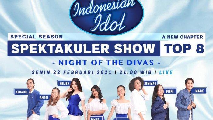 Poster Indonesian Idol Special Season malam ini yang akan kehadiran bintang tamu K-Pop Aespa
