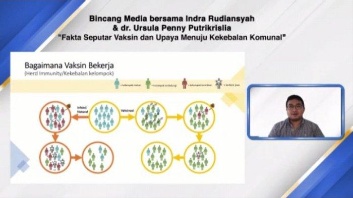 Indra Rudiansyah, peneliti vaksin Covid-19 asal Indonesia, mejelaskan seputar vaksin Covid-19 dalam acara Bincang Media dengan tema
