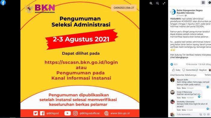 Pengumuman Hasil Seleksi Administrasi CPNS dan PPPK 2021 Diumumkan Tanggal 2-3 Agustus 2021