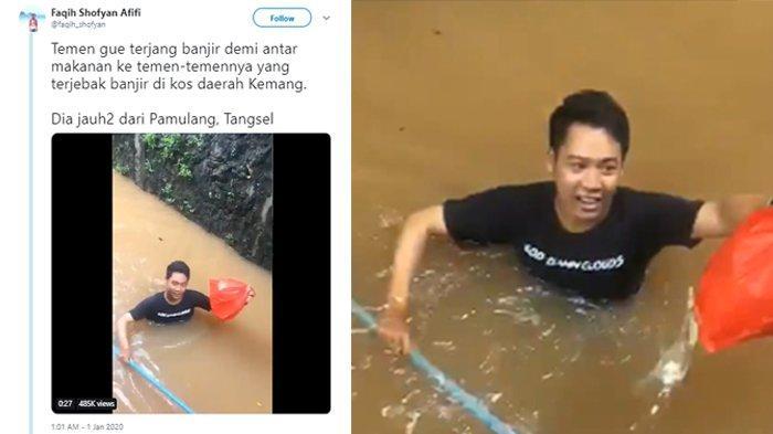 Cerita Dibalik Video Heroik Pria yang Rela Terjang Banjir Demi Antar Makanan kepada Teman-temannya