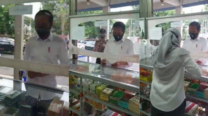Ini kisah Presiden Joko Widodo (Jokowi) datangi Apotek di Bogor, Jawa Barat. Tanya kesediaan obat Covid-19, ternyata habis semua.